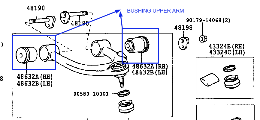 JUAL BUSHING UPPER ARM ORIGINAL LC 100